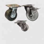 Колесные опоры цельнометаллические, платформенное крепление, цельнолитой ролик.