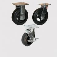 Колесные опоры болшегрузные, неповоротные, поворотные и поворотные с тормозом, литая черная резина, чугунный обод, платформенное крепление.