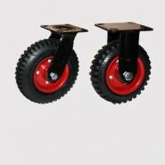 Колесные опоры болшегрузные, поворотные и неповоротные, литая протекторная резина, штампованный стальной обод, платформенное крепление.