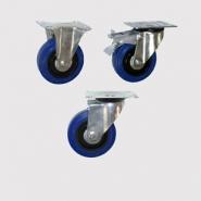 Колесные опоры промышленные усиленные, эластичная синяя резина.