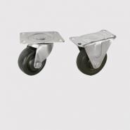 Колесные опоры, колесо - цельное из твердой черной резины, платформенное крепление.