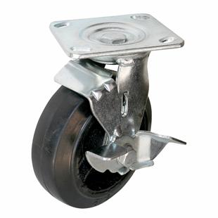 Фото - Колесо большегрузное поворотное с тормозом - поворотная колесная опора с тормозом, литая черная резина, платформенное крепление SCdb 85