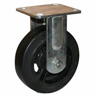 Фото - Колесо большегрузное неповоротное - неповоротная колесная опора, литая черная резина, платформенное крепление FCd 80