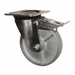 Фото - Колесо поворотное промышленное усиленное с тормозом-Поворотная колесная опора c тормозом, стальной цельнолитой ролик SRCsb 63