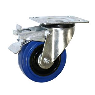 Фото - Колесо усиленное поворотное с тормозом – поворотная колесная опора c тормозом, усиленная, платформенное крепление SRCLb 42+
