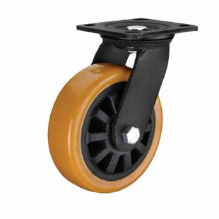 Фото - Колесо большегрузное поворотное - поворотная колесная опора, полиуретановый контактный слой, платформенное крепление SCpu 55