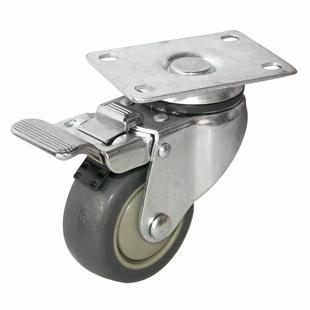 Фото - Колесо аппаратное поворотное с тормозом - поворотная колесная опора  с тормозом, платформенное крепление, термопластичная серая резина SCkb 93+