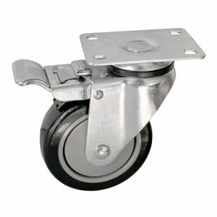 Фото - Колесо аппаратное поворотное с тормозом - поворотная колесная опора  с тормозом, платформенное крепление, полиуретановый контактный слой SCmb 42