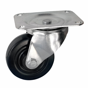 Фото - Колесо аппаратное поворотное - колесная опора поворотная из твердой черной резины, платформенное крепление SDd 35