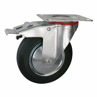 Фото - Колесо промышленное поворотное с тормозом - поворотная колесная опора с тормозом, платформенное крепление SCb 42+ Европейский стандарт
