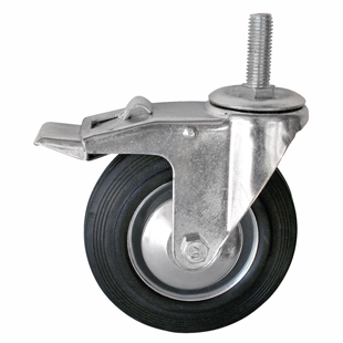 Фото - Колесо промышленное поворотное с тормозом - поворотная колесная опора с тормозом, болтовое крепление SCtb 93+ Европейский стандарт
