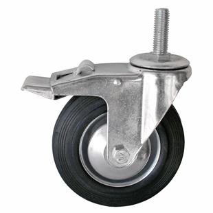 Фото - Колесо промышленное поворотное с тормозом - поворотная колесная опора с тормозом, болтовое крепление SCtb 63+ Европейский стандарт