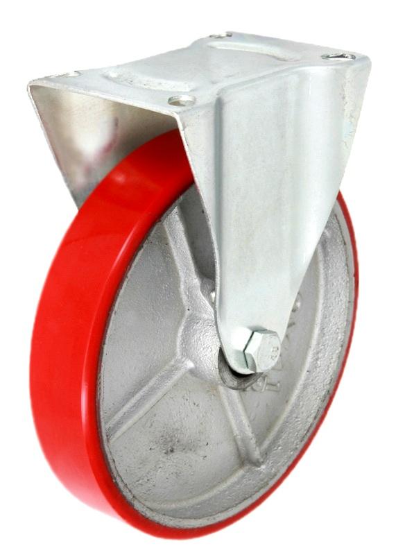 Фото - Колесные опоры промышленные, неповоротные, стальной литой обод, полиуретановый контактный слой, платформенное крепление FCps 80