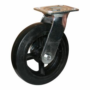 Фото - Колесо большегрузное поворотное - поворотная колесная опора литая черная резина, платформенное крепление SCd 55