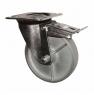 Колесо промышленное усиленное поворотное-Поворотная колесная опора с тормозом, стальной цельнолитой ролик SRCsb 80
