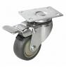 Колесо аппаратное поворотное с тормозом - поворотная колесная опора  с тормозом, платформенное крепление, термопластичная серая резина SCkb 42+