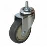 Колесо аппаратное поворотное - поворотная колесная опора, болтовое крепление, термопластичная серая резина SCtk 93+
