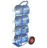 Тележка двухколесная для перевозки четырех 19-ти литровых баллонов с питьевой водой ВД 4. Грузоподъемность 200 кг. Колеса на черной литой резине диаметром 250 мм.