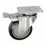 Колесо аппаратное поворотное с тормозом - поворотная колесная опора  с тормозом, платформенное крепление, полиуретановый контактный слой SCmb 42