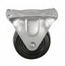 Колесо аппаратное неповоротное - колесная опора неповоротная из твердой черной резины, платформенное крепление FDd 46