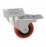 Колесо аппаратное поворотное с тормозом - поворотная колесная опора с тормозом, полиуретан, платформенное крепление SCrb 25
