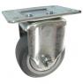 Колесо аппаратное неповоротное - неповоротная колесная опора, платформенное крепление, термопластичная серая резина FCk92+