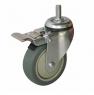 Колесо аппаратное поворотное с тормозом - поворотная колесная опора c тормозом, болтовое крепление, термопластичная серая резина SCtkb 93+