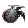 Колесо большегрузное поворотное с тормозом - поворотная колесная опора с тормозом, полиуретановый контактный слой SCpxb 80