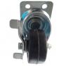 Колесо аппаратное поворотное с тормозом - колесная опора поворотная из твердой черной резины, платформенное крепление SDdb 25