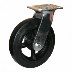 Поворотная колесная опора литая черная резина, платформенное крепление SCd 80