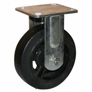 Неповоротная колесная опора, литая черная резина, платформенное крепление FCd 80
