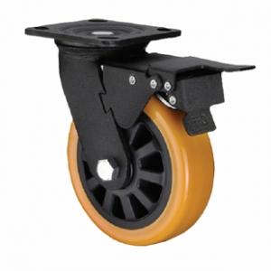 Поворотная колесная опора с тормозом, полиуретановый контактный слой, платформенное крепление SCpub 80