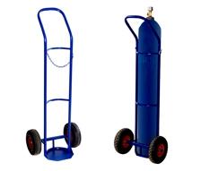 Тележка для перевозки одного баллона ГБ 1 (кислород, ацетилен, углекислота).  Грузоподъемность 100 кг. Колеса литая резина диаметром 250 мм.
