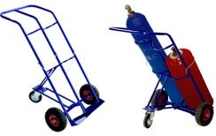 Тележка для перевозки двух баллона КП 2 (пропан + кислород, ацетилен, углекислота).  Грузоподъемность 200 кг. Колеса литая резина диаметром 250 мм.