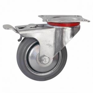 Колесо промышленное поворотное с тормозом - Поворотная колесная опора c тормозом, платформенное крепление SCb 80f+ Европейский стандарт