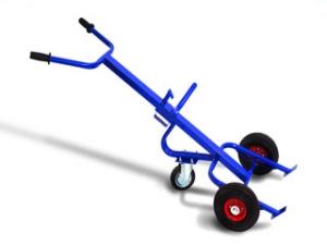 Тележка для перемещения металлических бочек - бочкакат КБ 1. Грузоподъемность 300 кг. Колеса литая резина диаметром 250 мм.