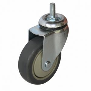 Колесо аппаратное поворотное - поворотная колесная опора, болтовое крепление, термопластичная серая резина SCtk 42+