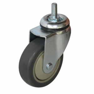 Колесо аппаратное поворотное - поворотная колесная опора, болтовое крепление, термопластичная серая резина SCtk 55+