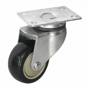Колесо аппаратное поворотное - поворотная колесная опора, платформенное крепление, полиуретановый контактный слой SCm 93