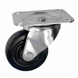 Колесо аппаратное поворотное - колесная опора поворотная из твердой черной резины, платформенное крепление SDd 35