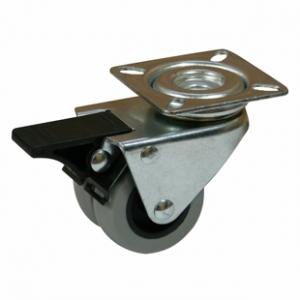 Колесо аппаратное поворотное с тормозом - поворотная колесная опора c тормозом, двойной нейлоновый ролик, платформенное крепление SCndb 25