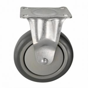 Колесо аппаратное неповоротное - неповоротная колесная опора, платформенное крепление, термопластичная серая резина FCk 54+