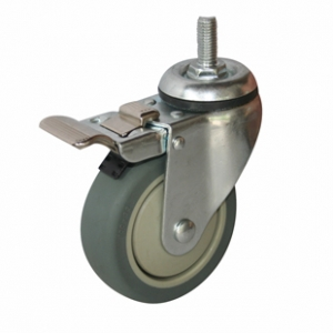 Колесо аппаратное поворотное с тормозом - поворотная колесная опора c тормозом, болтовое крепление, термопластичная серая резина SCtkb 42+