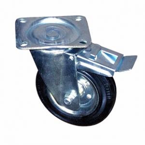 Колесо промышленное усиленное поворотное с тормозом - поворотная колесная опора усиленная, с тормозом, платформенное крепление SRCb 63+