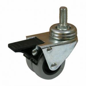 Колесо аппаратное поворотное с тормозом - поворотная колесная опора с тормозом, двойной нейлоновый ролик, болтовое крепление SCtndb 25