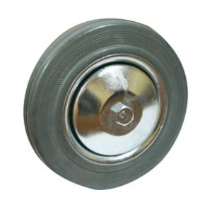 Колесо промышленное С63f, шинка - серая полуэластичная резина, обод-штампованная листовая сталь, оцинкован, защитные кожуха. Допустимая нагрузка 145 кг.