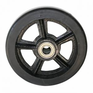 Колесо большегрузное DL95, чугунный обод, литая черная резина. Допустимая нагрузка 1000 кг.