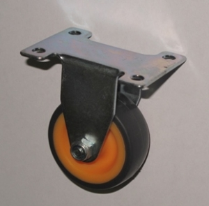 Колесо аппаратное неповоротное - неповоротная колесная опора, платформенное крепление, термопластичная серая резина FCk25