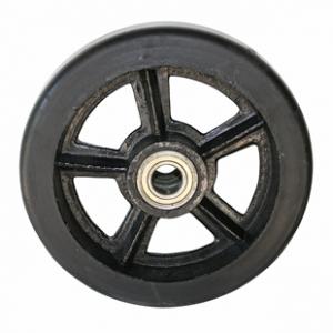 Колесо большегрузное DL80, чугунный обод, литая черная резина. Допустимая нагрузка 700 кг.