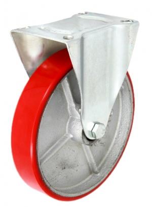 Колесные опоры промышленные, неповоротные, стальной литой обод, полиуретановый контактный слой, платформенное крепление FCps 80